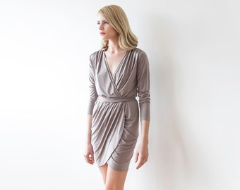Mini wrap taupe dress ,Short formal dress with long sleeves 1035