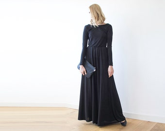 Black maxi open-back formal dress, Maxi gown with long sleeves , Backless black dress 1041