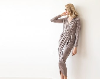 Formal taupe maxi wrap dress with long sleeves, Wrap formal taupe gown 1034