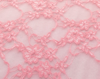 Giselle Stretch Floral Lace Coral Pink 58 Inch Wide Fabric by the Yard, 1 yard