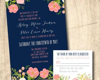 Coral and Navy Wedding invitation printed or printable