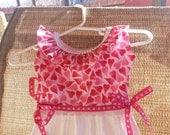 OVEN TOWEL Pink Hearts Ruffles Dress Oven Door Dish Towel Dress Valentines