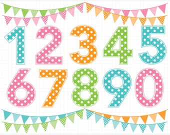 Alpha - Polkadot / Polka Dot Numbers / Boy or Girl Birthday Numbers Clip Art / Digital Clipart - Instant Download