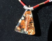 copper wrapped quartz crystal ORGONE triangle necklace