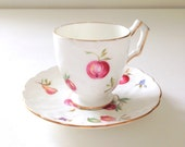 """Vintage Aynsley English Fine Bone China """"Florida"""" Pattern Demitasse Cup and Saucer Tea Party Little Princess Tea Party - c. 1950s"""