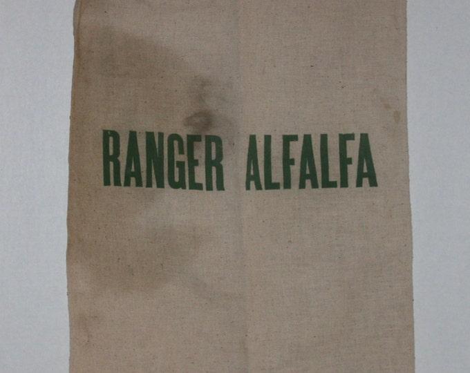 Vintage Ranger Alfalfa Sack, Cotton Feed Sack