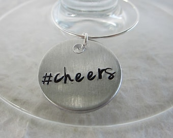 Hand Stamped Wine Charms #cheers / Custom Wine Charms / Wedding Wine Charms / Wedding Favors / Party Favors