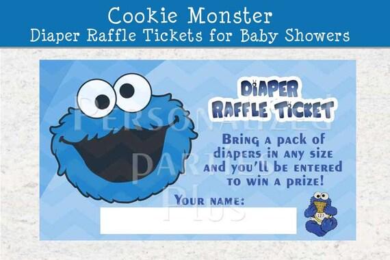 cookie monster diaper raffle ticket for baby by partiesplus