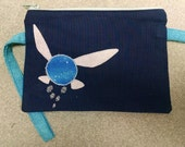 Legend of Zelda Navi Applique Wristlet or Cell Phone Case Navy Blue