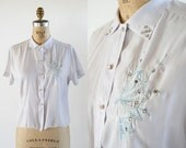 vintage 50s blouse // 1950s lavender blouse // rhinestone blouse // 50s top // embroidered blouse // short sleeve blouse // pinup top