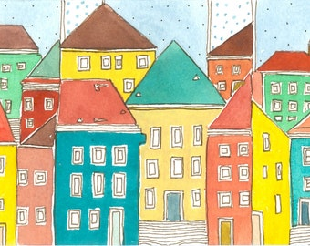 "Ice Cream Colors Watercolor Painting ,"" Happy Colors Town Houses "" Spring Brights ,  Home Decor"