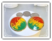 Enameled  Pierced Earrings - Abstract Flame Enamel Pierced Earrings - E470a-100412000