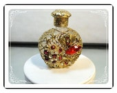 Filigree Perfume Bottle  - Vintage Rhinetone    PF1298a-022313000