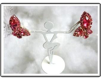 Vintage WEISS Earrings - Rose Pink  Rhinestone Earrings - Clip On   E495a-04081200