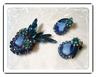 Blue Givre D&E Demi - Graceful Juliana Brooch and Earrings   Demi-655a-011808075