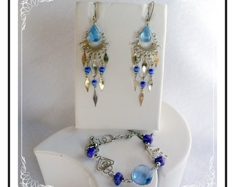 Blue Art Glass Set - Vintage Bracelet and Earrings     Demi-1367a-040810000
