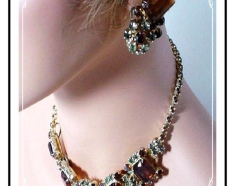 Vintage Juliana Full Parure  Elegant Amber Smoke D and E  Para-228a-020307125