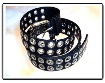 Black Leather Belt - Vintage Hipster w Silvertone Stud Circles Vintage by Amie Lynn   Belt-2971a-112113001