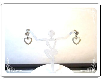 Valentine  Weiss Earrings - Dangling Rhinestone Hearts - E3544a-092212000