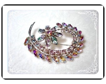 Brooch by SHERMAN - Bodacious Swirl of Color Rhinestone Pin-1226a-040110000