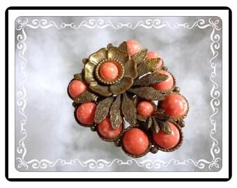 Sunflower Fur Clip - Art Nouveau Lush Orange Speckled  Sunflower Dress / Fur Clip   D-Clip-3323a-111814030