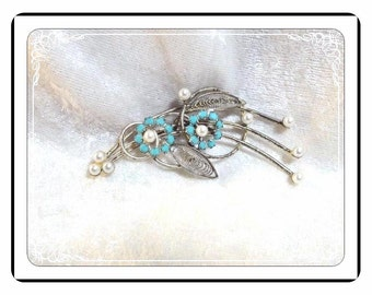 Flower Bouquet Brooch -  Vintage Brooch with Turquoise and Pearlescent Beads - Pin-1940a-083013000