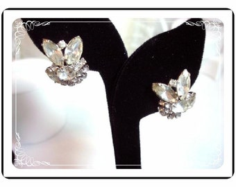 Rhinestone Continental Earrings - Icey Clear Rhinestone  - Signed Continental - Clip On  Earrings   E455a-04081200