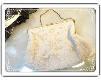 Belgium Beaded Bag  - Vintage Belgium Beaded Evening Bag w Metallic Gold & Pearlescent Beads by Walborg -  PR-009a-040913015