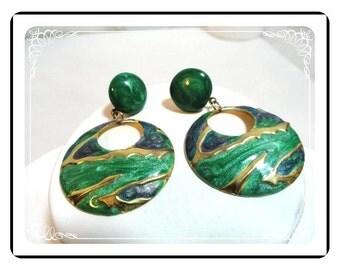 Bodacious Enameled  Earrings - Vintage Green Pierced  E327a-0718120000