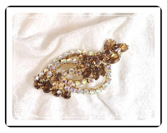 Brandy Brown Brooch - Glittering Vintage Prong Set  Pin-1232a-122811000