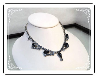 Brides Wedding Necklace  - Something Old Something Blue Rhinestone Vintage Brides Wedding Necklace   Neck-1557a-120312000