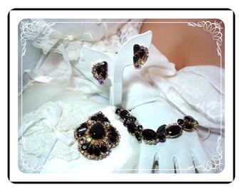 Vintage  D&E  Juliana Parure - Delightful Black and Aurora Borealis  Para-639a-111107087