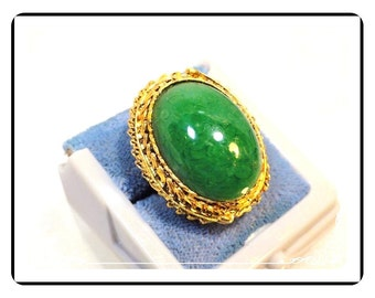 Domed Abstract Ring - Faux Green Glass  Size  8 Adjustable  - R2027a-122512000