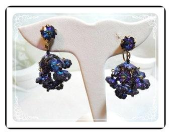 Margarita Hanging Earrings - Small Purple Blue Margarita Clips  E472a-071812000