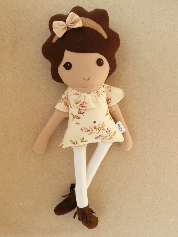 Reserved For Elavintage Fabric Doll Rag Doll Brown Curly