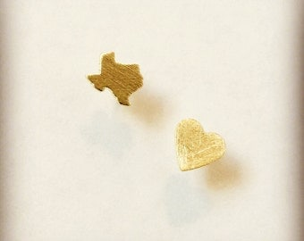 Texas Studs // Texas Love Heart Stud Earrings