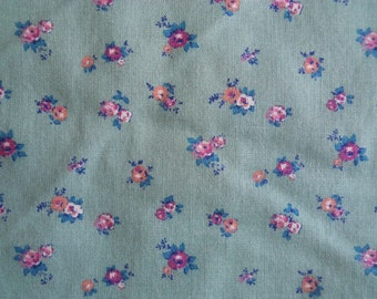 Sage Green Fabric Yardage with dainty tan and rose flowers - Marcus Bros. Textiles