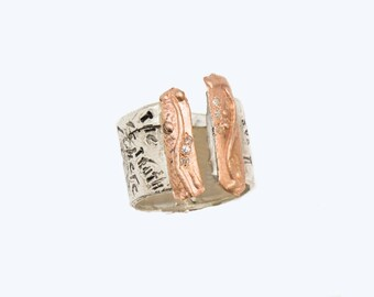 14 karat Rose gold and sterling silver handmade ring with a message