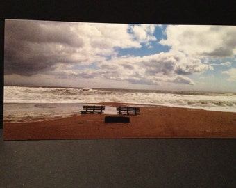 Old Orchard Beach Maine Benches Flat Note Kard