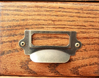 Classic Antique Brass Cup Pull with Card Holder - Drawer Pull - Screws Included Drawer Label Organize #1307.AB