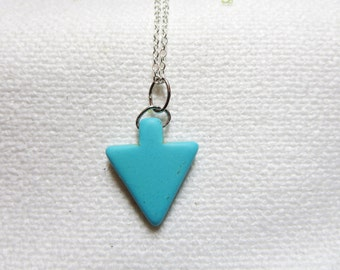 BUY 2 GET Any 1 FREE- Arrow  Necklace -Turquoise jewelry- Blue Silver Sagittarius Birth Stone  Arrow pendant - Gift For Her