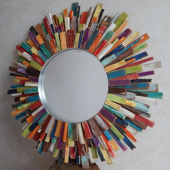 Mid Century Modern Colorful Sunburst Mirror by FallenWalnut