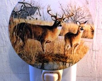 2 deer night light, animal night light, wildlife night light, decorative light, bathroom night light, pretty night light, kitchen light
