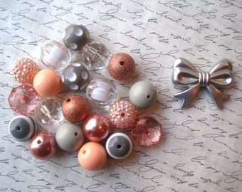 Bubblegum Bead Necklace Kit, Peach and Gray Beads, Silver Bow Focal, Gumball Bead Kit, Necklace Kit, DIY Necklaces, All Hardware Included