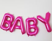 """16"""" BABY Balloon Banner, Mylar Balloon Banner, 16"""" Letter Balloons, Baby Shower Decorations, Pink Baby Shower, Baby Girl, Magenta, Hot Pink"""