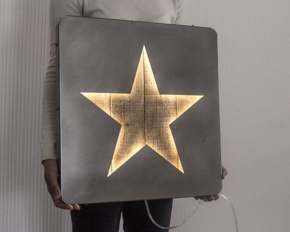 Large LED Star Sign // Wall Art Star Palette Wood and Metal