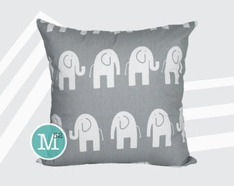 Grey Elephant Pillow Cover - 18 x 18, 20 x 20 and More Sizes - Zipper Closure - sc1820