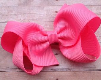 4 inch pink sorbet hair bow - pink boutique bow, pink bow, 4 inch bows, boutique bows, girls hair bows, toddler bows