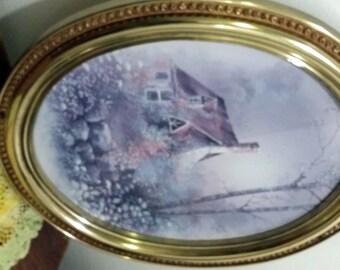 Vintage Home Interior Cottage Scene with Oval Gold Frame Homoco