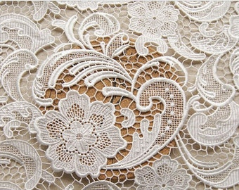 off white lace fabric, crochet lace fabric,  bridal lace, venise lace fabric